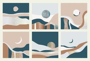 Set of abstract landscapes. Vector illustration.