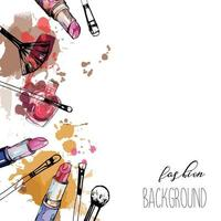 Cosmetics and fashion background. Make up artist objects. Lipstick, nail polish, brush. With place for your text. vector