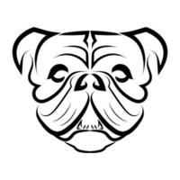 Black and white line art of bulldog or pug dog head vector
