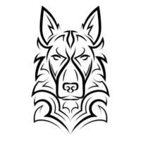 Black and white line art of german shepherd dog head. vector