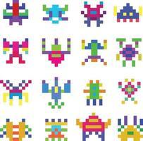 conjunto de monstruos de píxeles vector