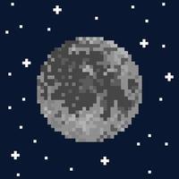 Pixel art moon and stars vector