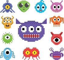 Set of pixel art aliens vector