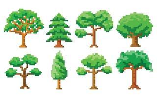 Set of pixel art trees vector