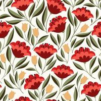 Red flowers seamless psttern vector