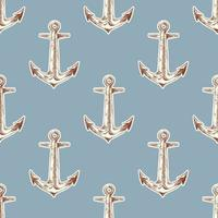 Retro seamless pattern with anchor vector
