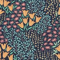 Wildflowers seamless pattern vector