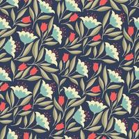Retro seamless pattern with simple flowers vector