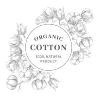marco con algodón en estilo boceto vector