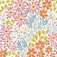 Seamless pattern with summer wildflowers vector