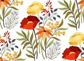 Seamless pattern with bright flowers vector
