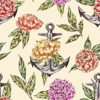 Vintage seamless pattern with anchor and peonies vector