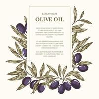 Label with olives, frame with place for text vector
