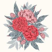 Vintage peonies bouquet vector