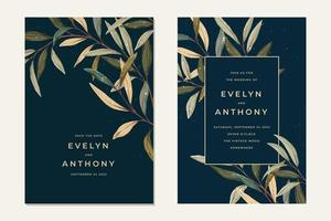 Wedding card collection with plants vector
