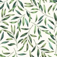 Seamless pattern with spring green leaves vector