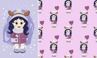 Kids winter. Seamless patterns and greeting card. A girl with deer horns on her head and with a balloon and handbag in winter clothes. Vector. For festive, Christmas design and greetings vector
