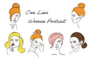One Line Women Portrait Set vector