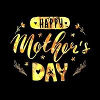 Happy mother's day lettering calligraphy card. Vector greeting illustration. Golden glitter on black background