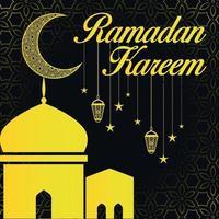 Ramadan kareem greeting social media post design black yellow vector