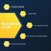 set business icon template with white thin line. blue and yellow polygon business icon style. vector