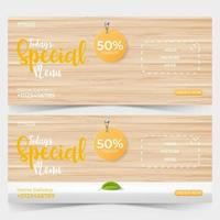 food ads banner template with wooden background, food or restaurant banner promotion concept. vector