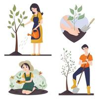 Vector set on the theme of gardening and farming. The concept of volunteering. A woman waters a tree, a guy plants a tree, a girl plants a flower. The hands that hold the sprout.