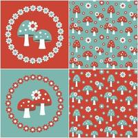 blue red seamless mushroom patterns with flower frames vector