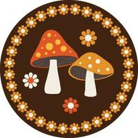 woodland mushrooms circular graphic with flowers and daisy border frame vector