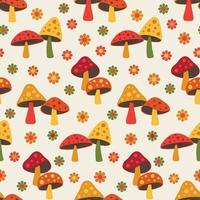 cute woodland mushroom and daisy seamless pattern vector