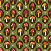 woodland mushroom and daisy seamless pattern on green background vector