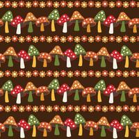 woodland mushroom and daisy seamless stripe pattern on brown background vector