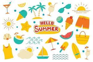 hola colección de verano set diseño plano sobre fondo blanco. símbolos y objetos coloridos de verano. vector