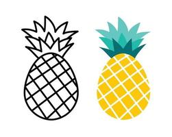 Pineapple fruit flat and outline design. Summer tropical fruits for healthy lifestyle. vector