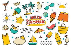 hola colección de verano escenografía sobre fondo blanco. símbolos y objetos coloridos de verano. vector