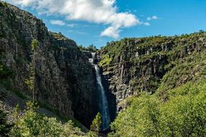 Cascada njupeskar en el norte de Suecia foto
