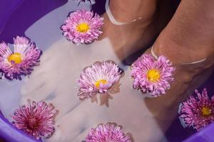Aroma foot bath with flowers close up photo