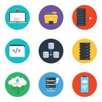 Dataserver and Data Storage Icon Set vector