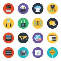 Data and  Protection Elements Icon Set vector