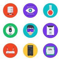 conjunto de iconos de comunicación y almacenamiento de datos vector