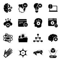 conjunto de iconos de elementos de tecnología futurista vector
