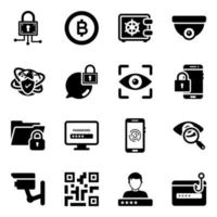 Cyber Security and Data Protection Icon Set vector