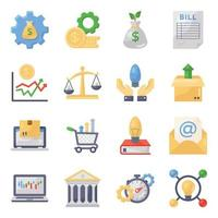 conjunto de iconos de finanzas y comercio vector