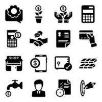 conjunto de iconos de finanzas y banca vector