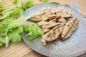 Grilled mackerel with salad photo
