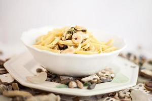 Seafood pasta in a bowl photo