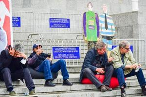 Tbilisi, Georgia - 9th April, 2021, People at a peaceful protest. photo