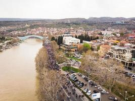 Tbilisi, Georgia - 9th April, 2021, People at a peaceful protest. photo