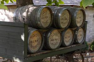 Whiskey barrels at the Belle Meade Mansion in Nashville, Tennessee, 2020. photo