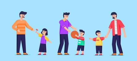 Father and Children Character Set vector